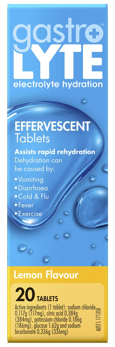 Gastrolyte Electrolyte Hydration Effervescent Tablets Lemon