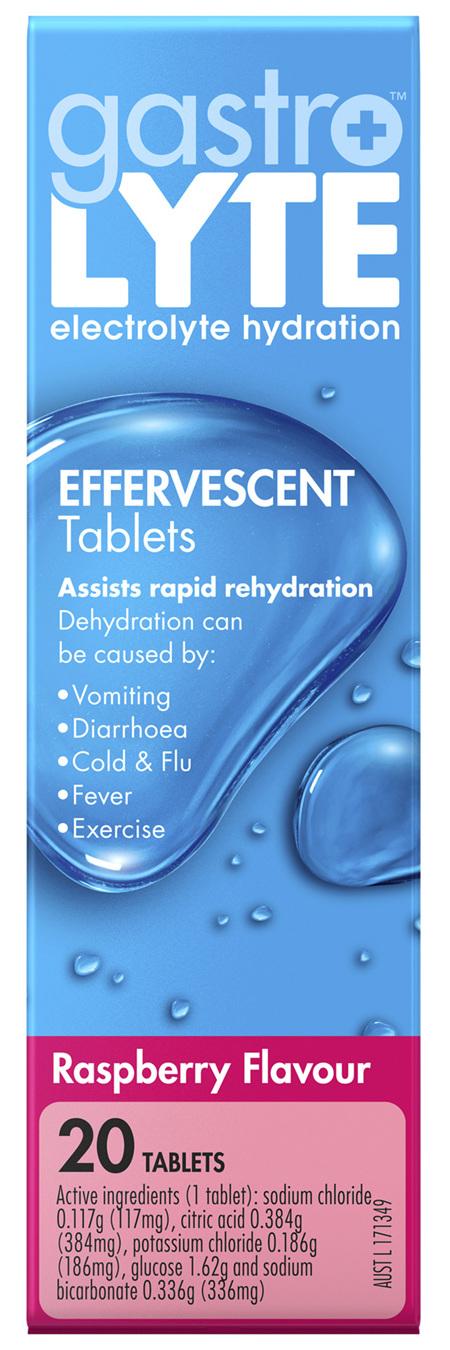 Gastrolyte Electrolyte Hydration Effervescent Tablets Raspberry
