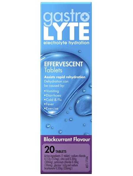 Gastrolyte Electrolyte Hydration Effervescent Tablets Blackcurrant