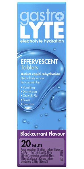 Gastrolyte Electrolyte Hydration Effervescent Tablets Blackcurrent