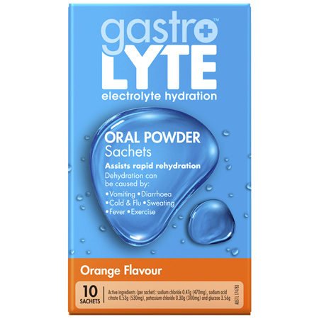 Gastrolyte electrolyte hydration Oral Powder Sachets Orange 10