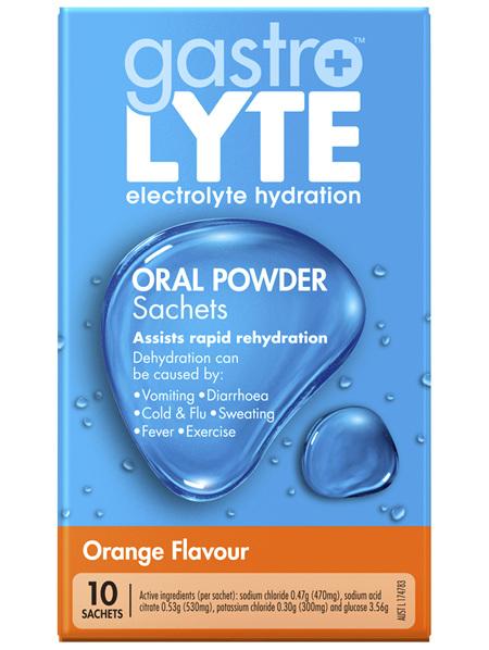 Gastrolyte Electrolyte Hydration Oral Powder Sachets Orange 10