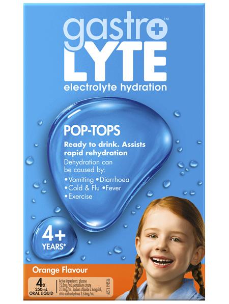 Gastrolyte Ready To Drink Orange Pop-Top 250ml x 4