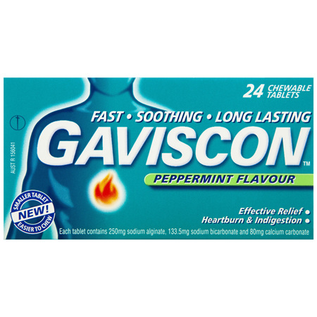 Gaviscon Chewable Tablets Peppermint Heartburn & Indigestion Relief 24 Pack