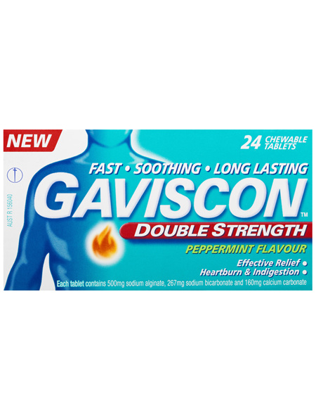 Gaviscon Double Strength Chewable Tablets Peppermint Heartburn & Indigestion Relief 500mg 24 Pack