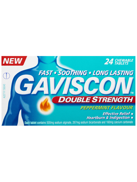 Gaviscon Double Strength Heartburn and Indigestion Relief Tablets Peppermint 24 Pack