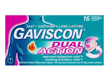 Gaviscon Dual Action 16 Chewable Tablets