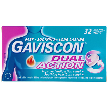 Gaviscon Dual Action Chewable Tablets Heartburn and Indigestion Relief Peppermint 32 Pack