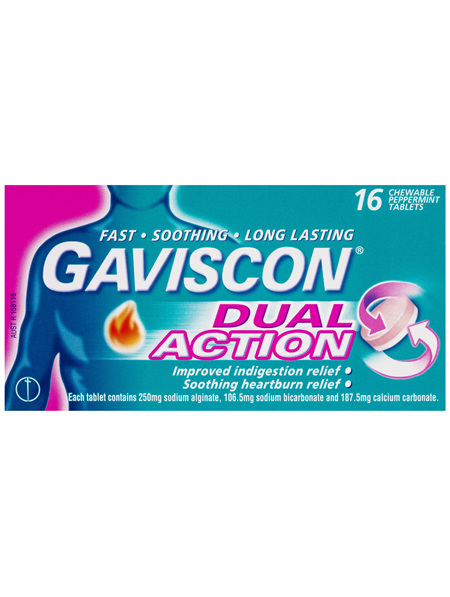 Gaviscon Dual Action Chewable Tablets Heartburn and Indigestion Relief Peppermint 16 Pack