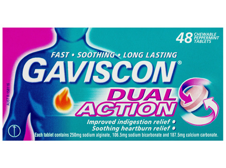 Gaviscon Dual Action Chewable Tablets Heartburn and Indigestion Relief Peppermint 48 Pack