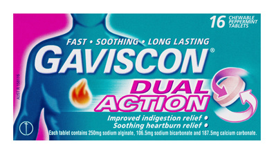Gaviscon Dual Action Chewable Tablets Peppermint Heartburn & Indigestion Relief 16 Pack
