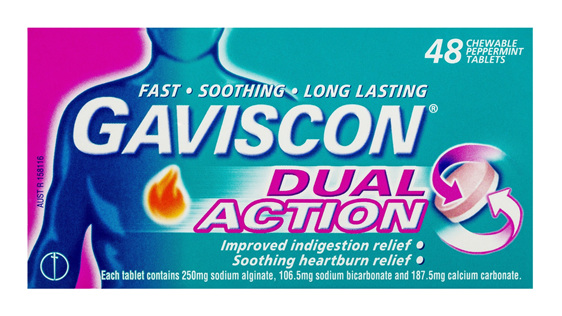 Gaviscon Dual Action Chewable Tablets Peppermint Heartburn & Indigestion Relief 48 Pack