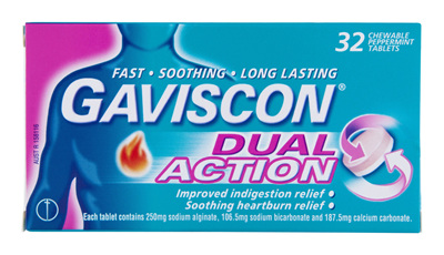 Gaviscon Dual Action Chewable Tablets Peppermint Heartburn & Indigestion Relief 32 Pack