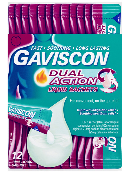 Gaviscon Dual Action Heartburn and Indigestion Relief Liquid Sachets Peppermint 10mL 10 Pack