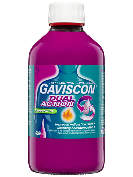 Gaviscon Dual Action Liquid Heartburn and Indigestion Relief Peppermint 600mL