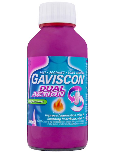 Gaviscon Dual Action Liquid Heartburn and Indigestion Relief Peppermint 300mL