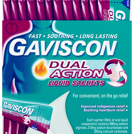 Gaviscon Dual Action Liquid Sachets for Heartburn & Indigestion Relief 12 Pack
