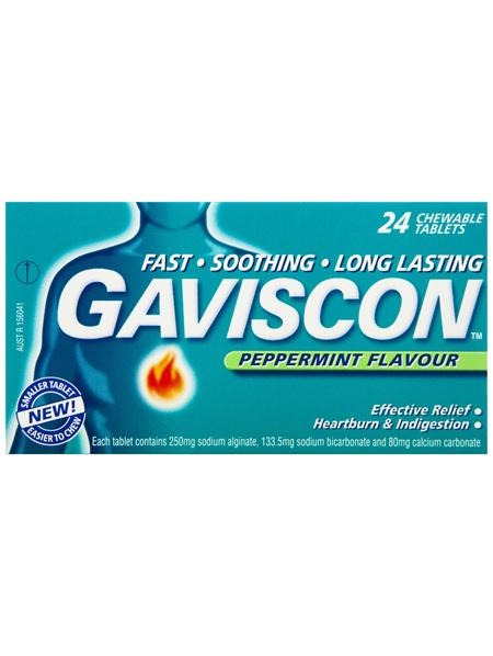 Gaviscon Original Peppermint Heartburn and Indigestion Tablets 24 Pack