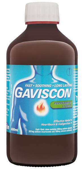 Gaviscon Original Peppermint Liquid Heartburn and Indigestion 600mL