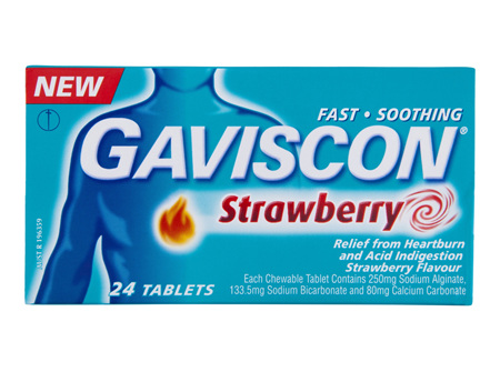 Gaviscon Tablets Strawberry Heartburn & Indigestion Relief 24 Pack