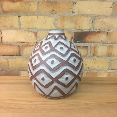 Geneva Ceramic Vase - Brown & White