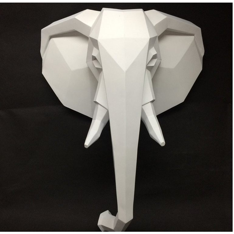 Geometric Elephant - White