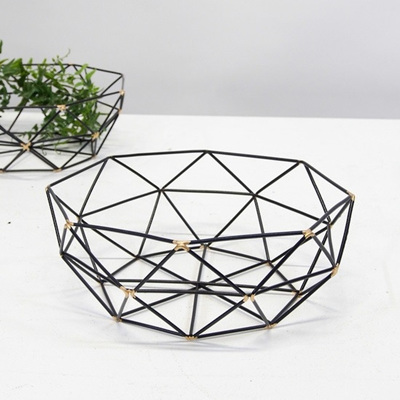 Geometric Metal Basket - Black/Gold