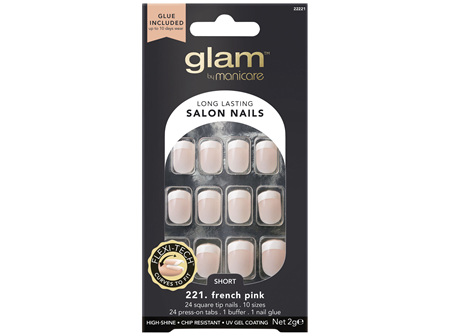 Glam By Manicare 221. French Pink Short Square Nails