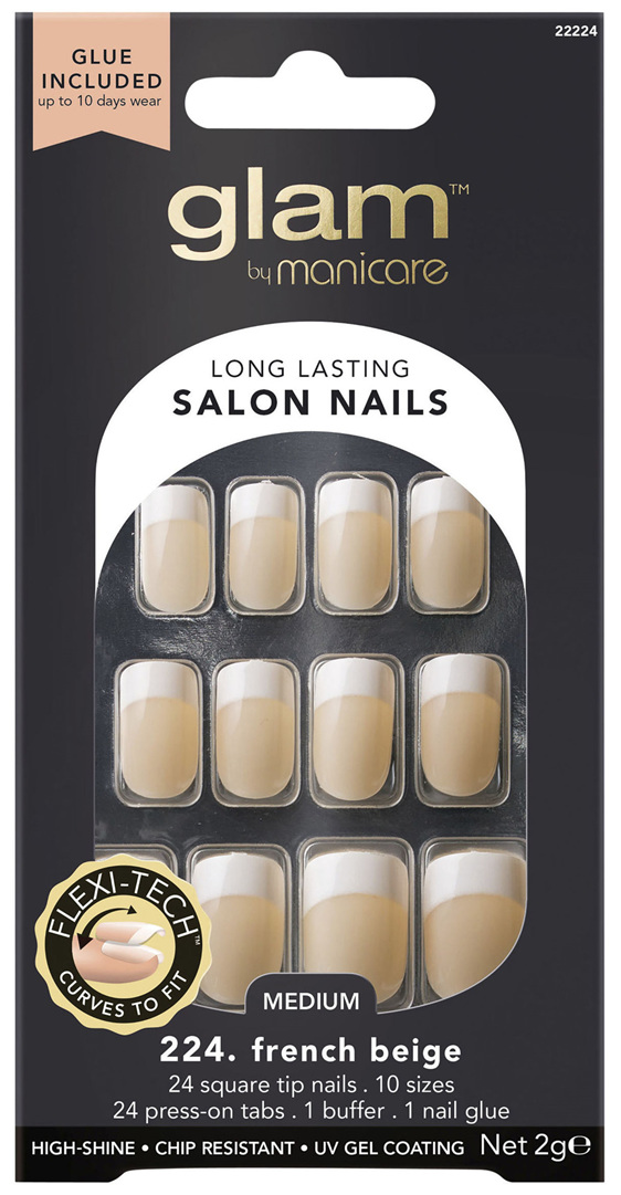 Glam By Manicare 224. French Beige Med Square Nails