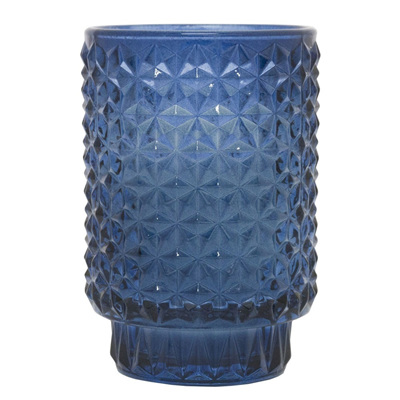 Glass Tea Light Holder With Candle - Navy