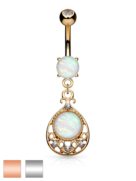 Glitter Opal Filigree Dangle Navel Bar