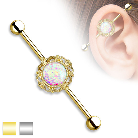 Glitter Opal Filigree Industrial Bar