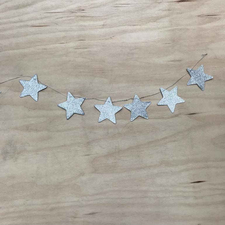 Glitter Star Garland - Silver