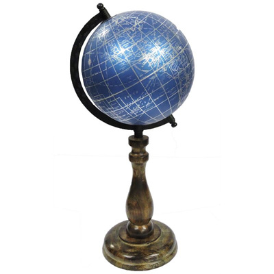 Globe On Wooden Stand - Blue