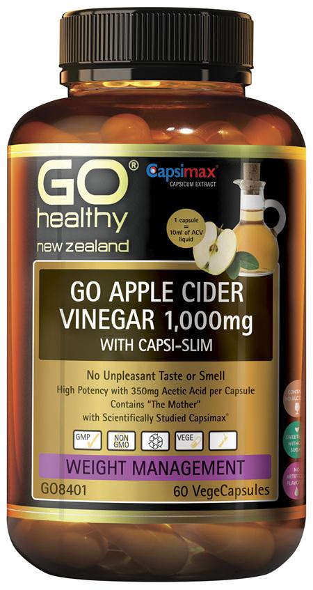 GO Apple Cider Vinegar 1,000mg with Capsi Slim 60 VCaps