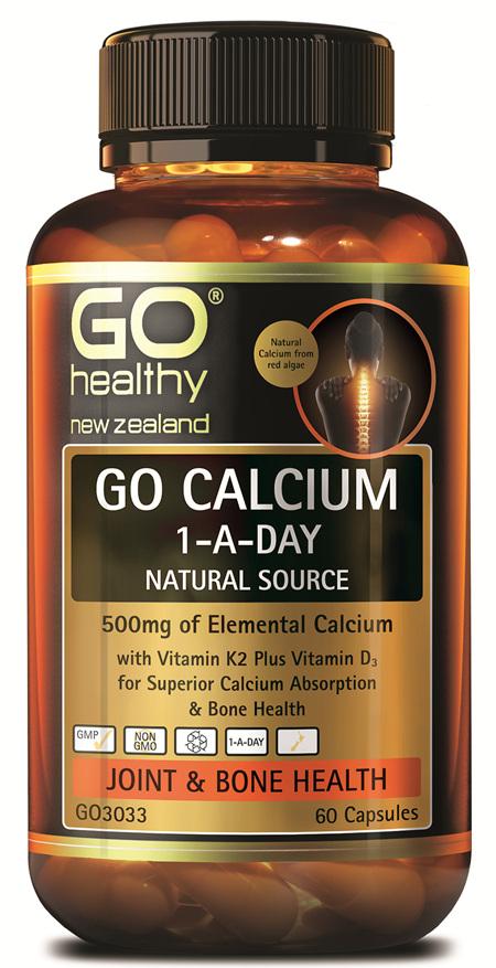 GO CALCIUM 1-A-DAY - NATURAL, 500MG ELEMENTAL CALCIUM (60 CAPS)