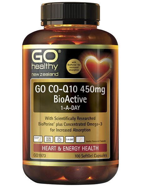 GO Co-Q10 450mg BioActive 1-A-Day 100 Caps