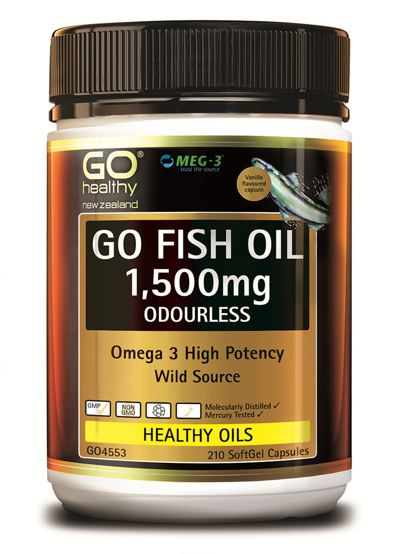 GO FISH OIL 1,500mg ODOURLESS - High Potency Omega 3 (210 caps)