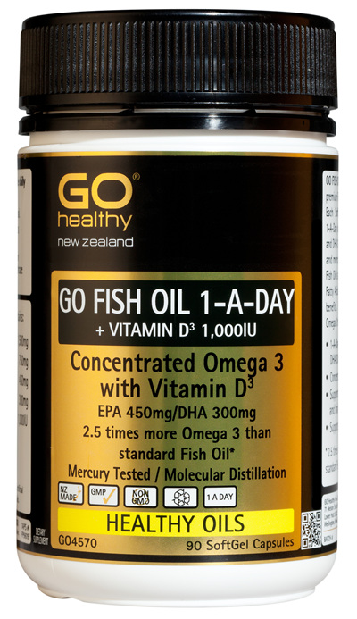 GO FISH OIL 1,500mg ODOURLESS - High Potency Omega 3 (90 caps)