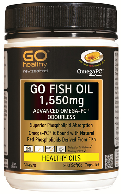 GO FISH OIL 1,550mg - Advanced Omega PC™ Odourless (200 caps)