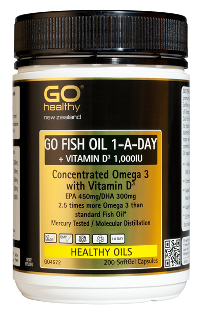 GO FISH OIL 1-A-Day + VIT D 1,000IU - Concentrated Omega 3 (200 caps)