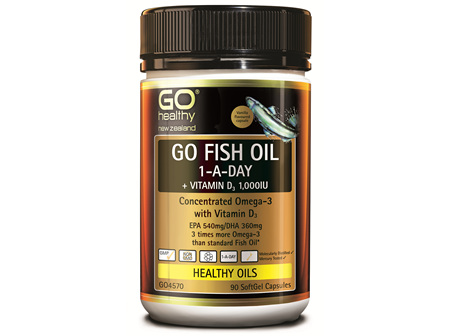 GO FISH OIL 1-A-Day + VIT D 1,000IU - Concentrated Omega 3 (90 caps)