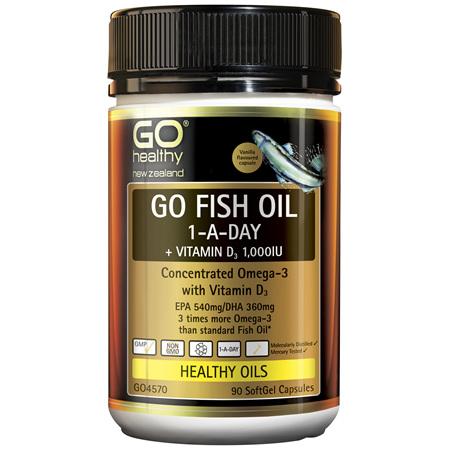 GO Fish Oil 1-A-Day + Vit D3 1000IU 90 Caps