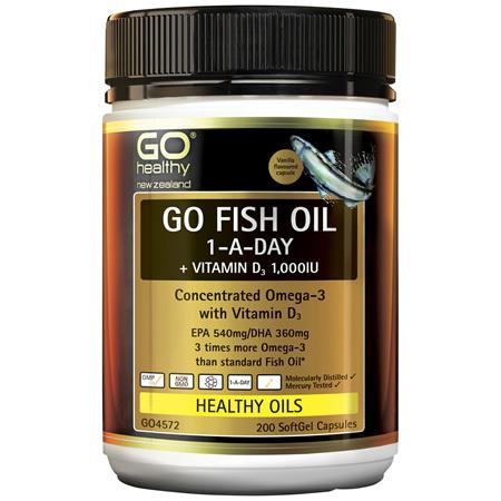 GO Fish Oil 1-A-Day + Vitamin D3 1000IU 200 Caps