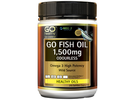 GO Fish Oil 1,500mg Odourless 210 Caps