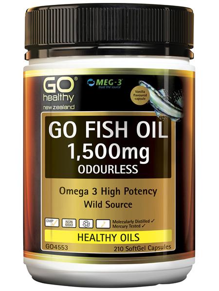 GO Fish Oil 1,500mg Odourless 210 Caps