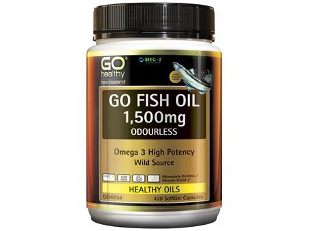 GO Fish Oil 1,500mg Odourless 420 Caps