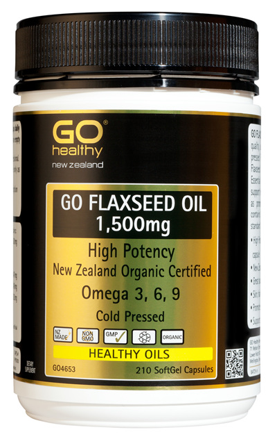 GO FLAXSEED OIL 1,500mg - High Potency NZ Organic Certified (210 caps)