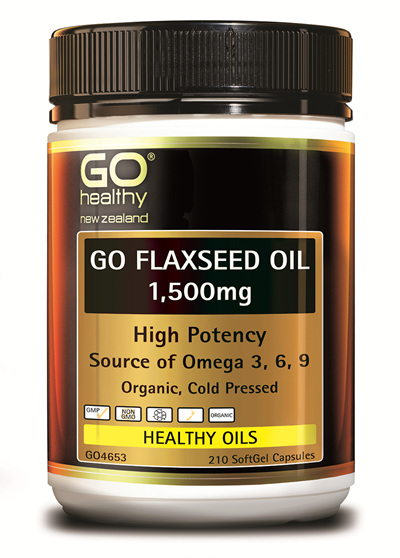GO FLAXSEED OIL 1,500mg - High Potency NZ Organic Certified (210 caps)