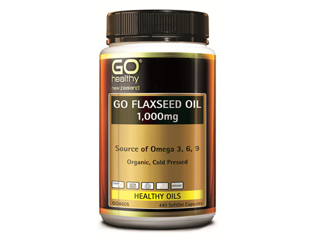 GO FLAXSEED OIL 1,000MG - NZ ORGANIC CERTIFIED (440 CAPS)